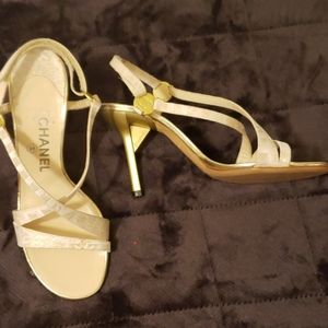 Authentic Chanel Cream Gold Shimmer Heels
